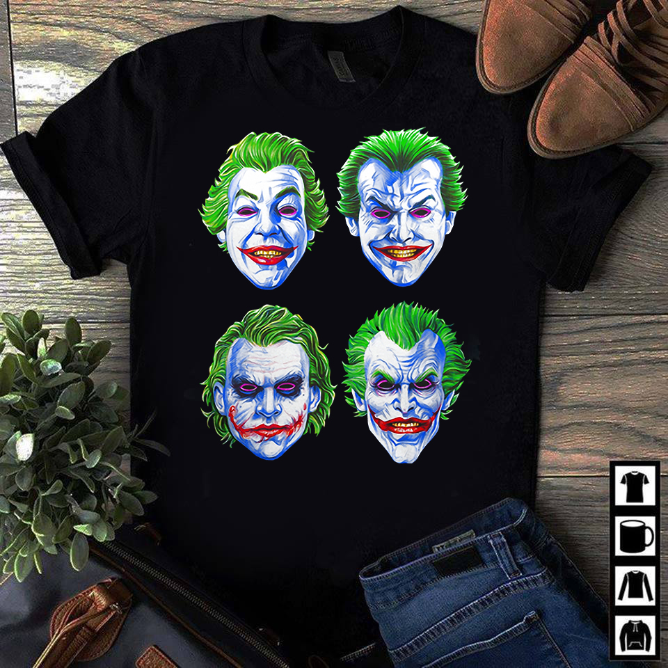Joker Faces of Insanity shirts