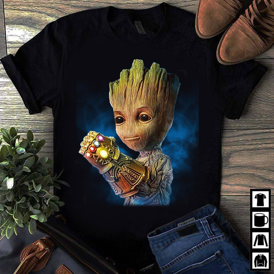 Alright who gave baby groot the infinity gauntlet shirt