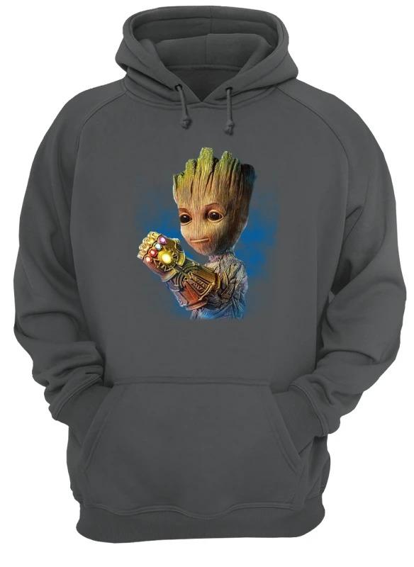 Alright who gave baby groot the infinity gauntlet hoodie