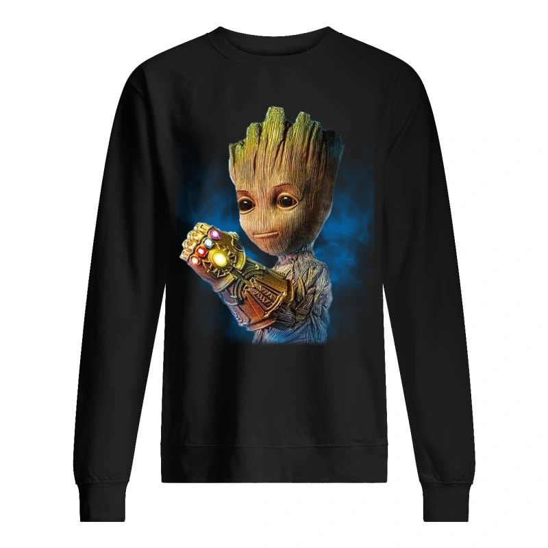 Alright who gave baby groot the infinity gauntlet sweater