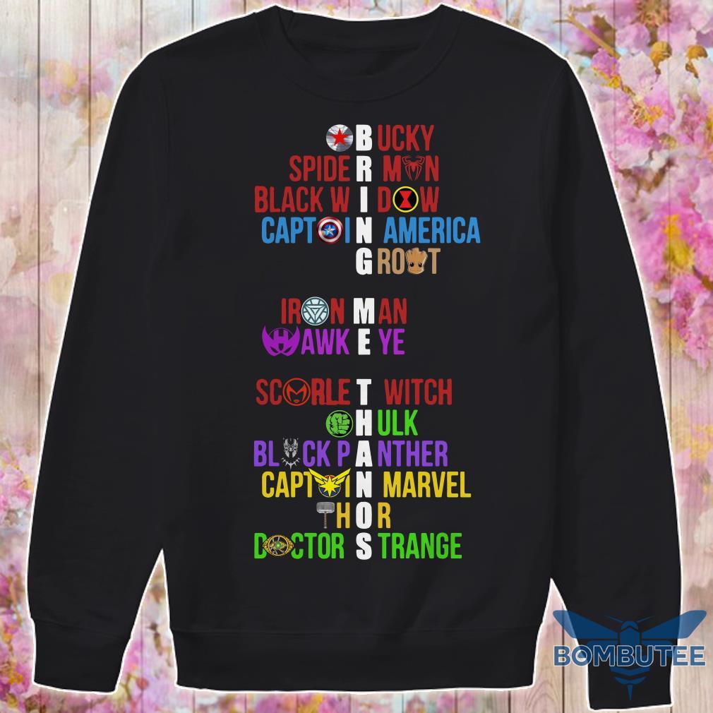 Bring Me Thanos Bucky Spiderman Black Widow Captain America Groot sweater