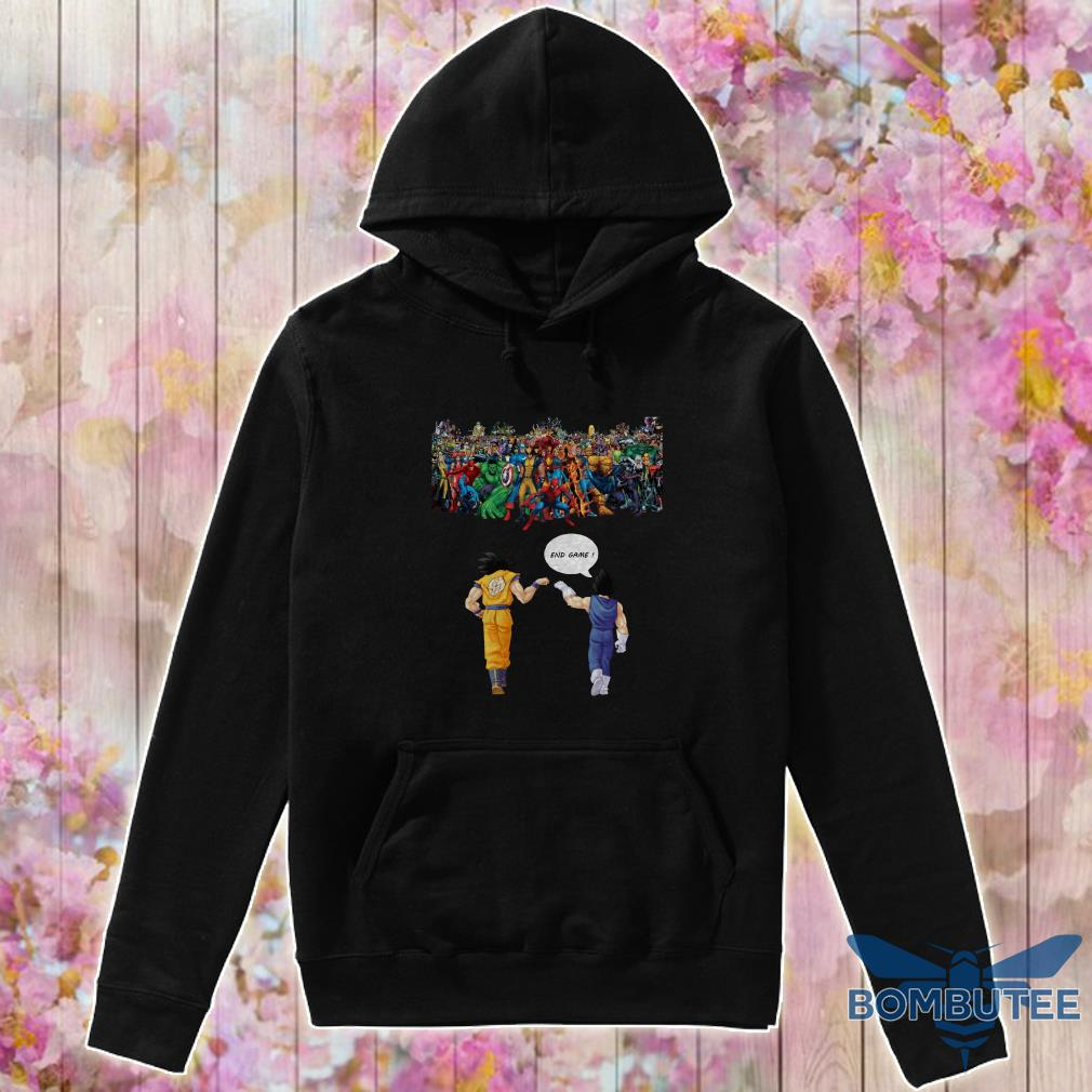 Endgame Goku and Vegeta vs avenger marvel hoodie