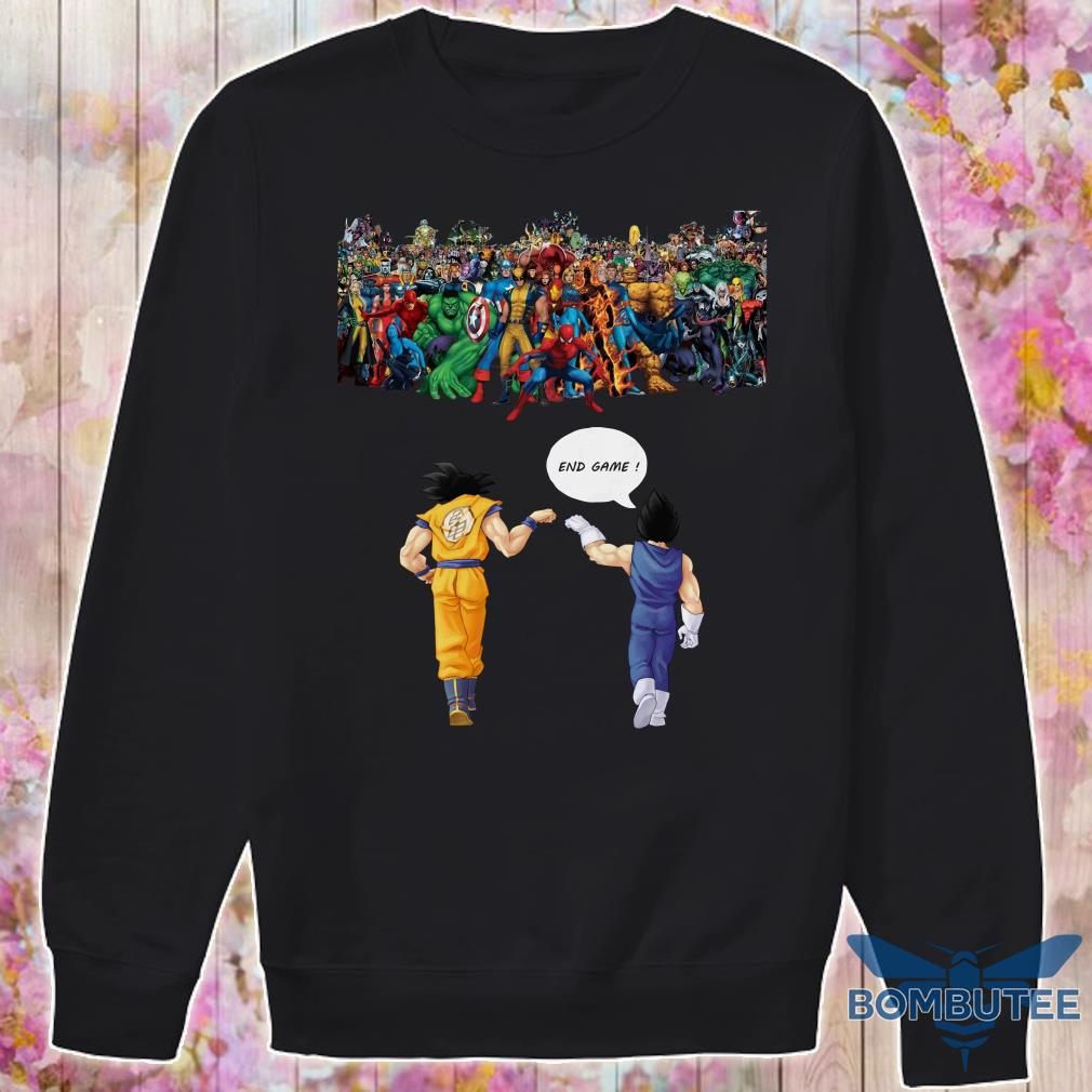 Endgame Goku and Vegeta vs avenger marvel sweater