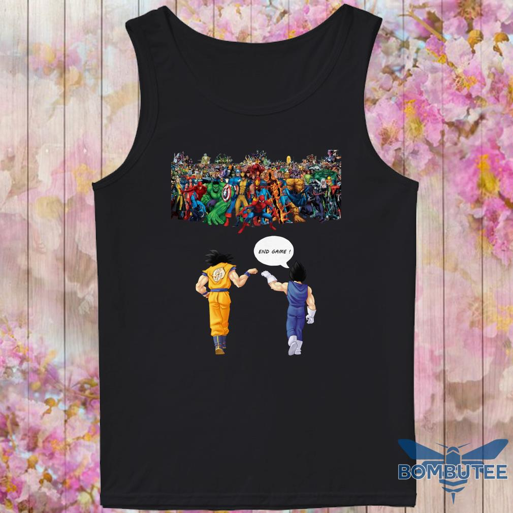 Endgame Goku and Vegeta vs avenger marvel tank top