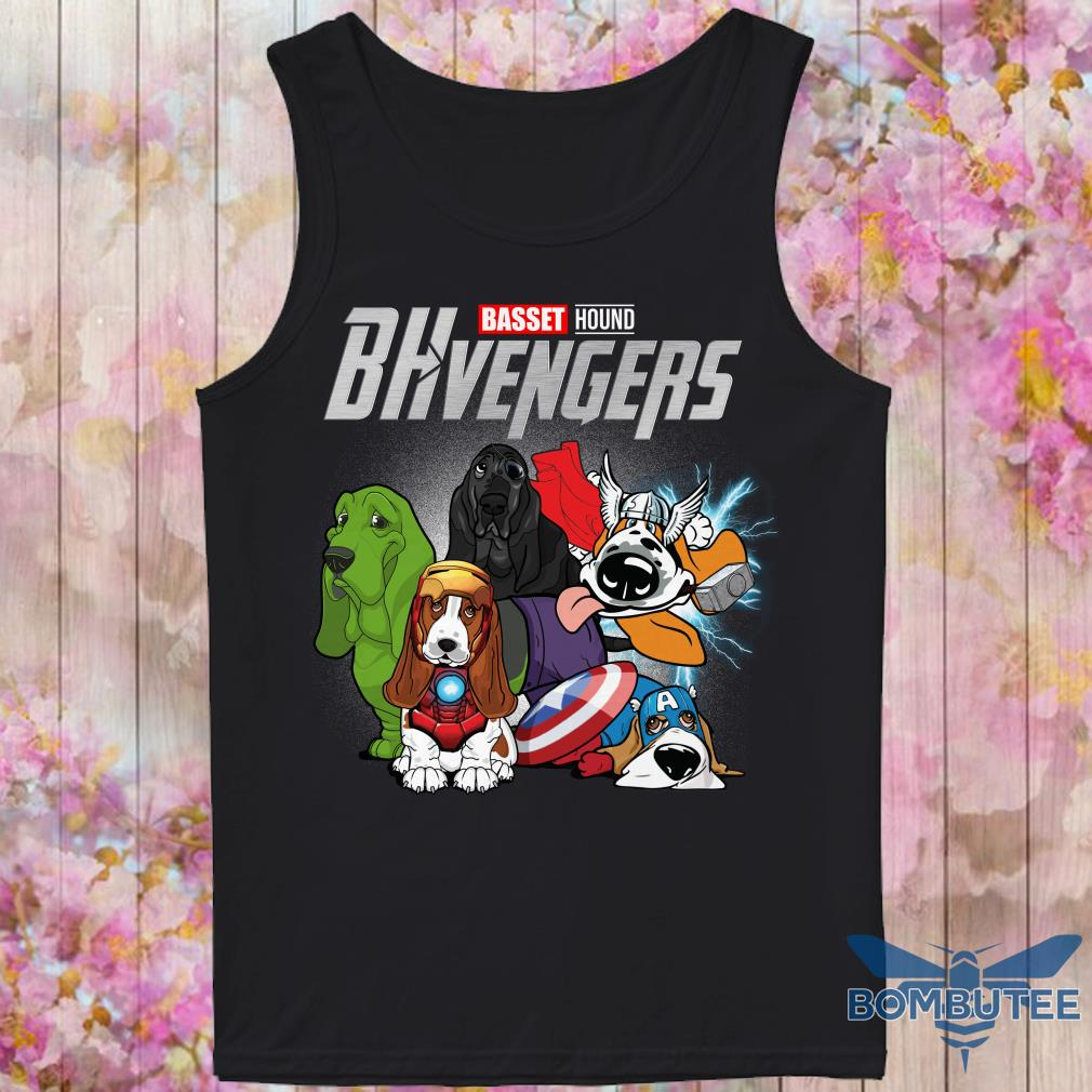 Marvel Superheroes BHvengers Basset Hound Dog tank top