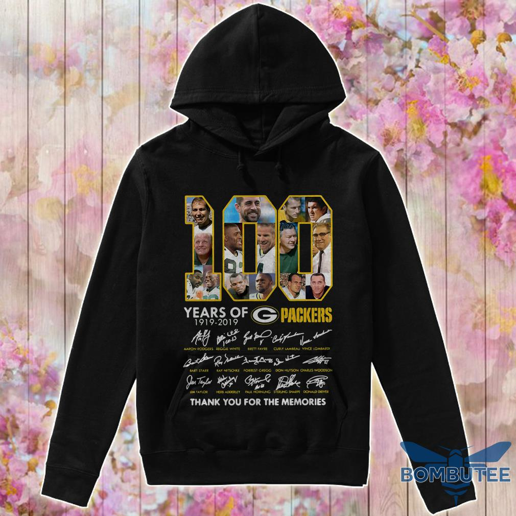 100 Years Green Bay Packers 1919-2019 Thank You For The Memories Signature hoodie