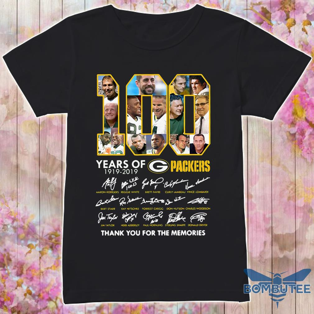 100 Years Green Bay Packers 1919-2019 Thank You For The Memories Signature Shirt