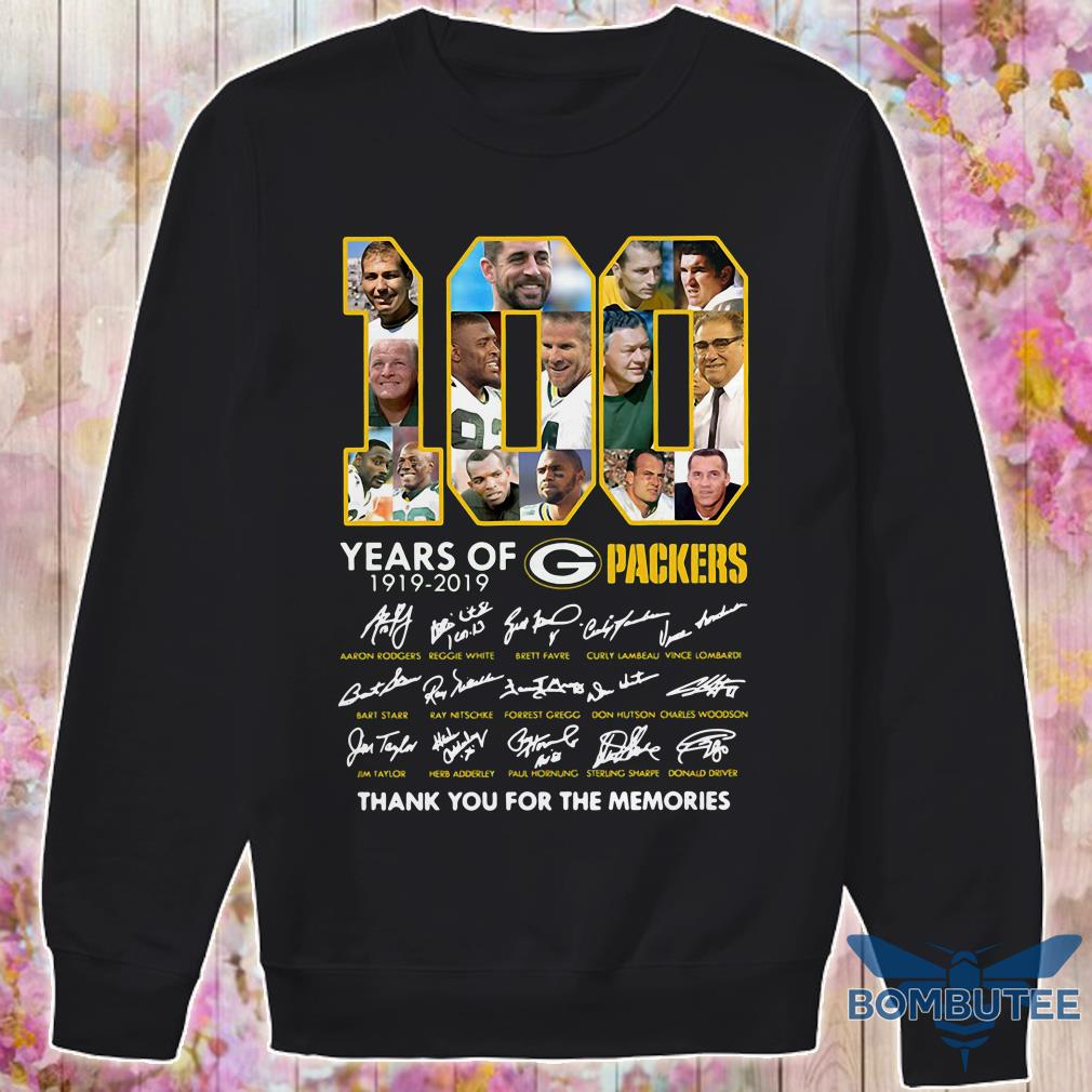 100 Years Green Bay Packers 1919-2019 Thank You For The Memories Signature sweater