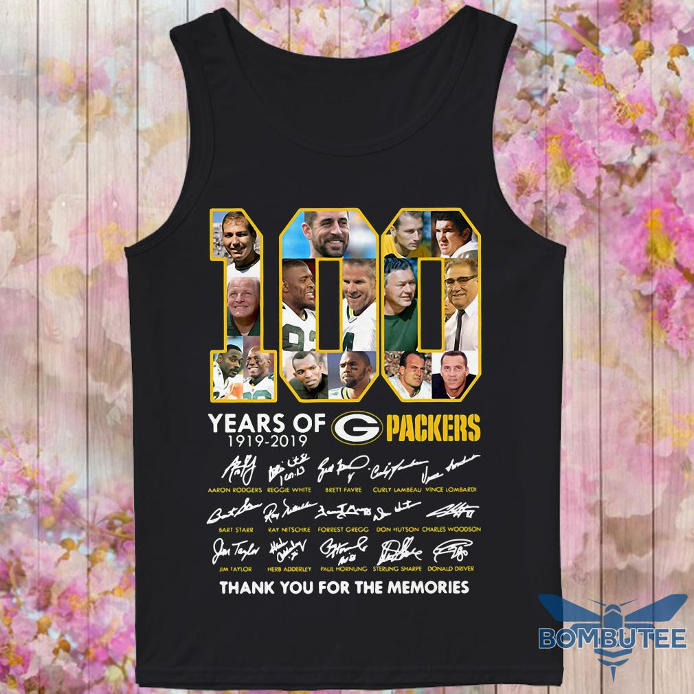 100 Years Green Bay Packers 1919-2019 Thank You For The Memories Signature tank top