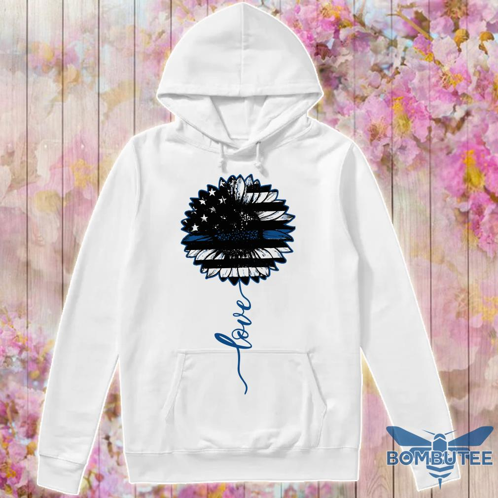 Love Thin Blue Line Sunflower hoodie