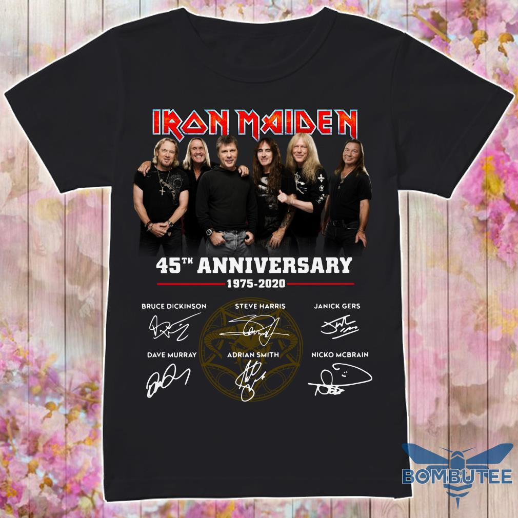 Characters Iron Maiden 45th Anniversary 1975-2020 signatures shirt