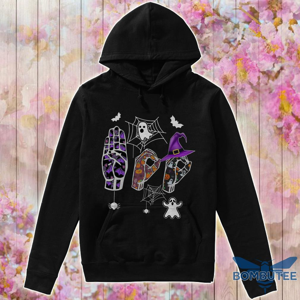 Ghost Boo Sign language Halloween hoodie