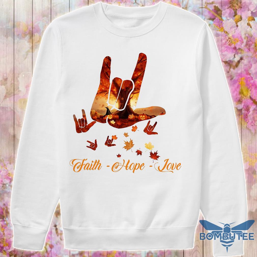 Sign Language Autumn leaf faith hope love sweater