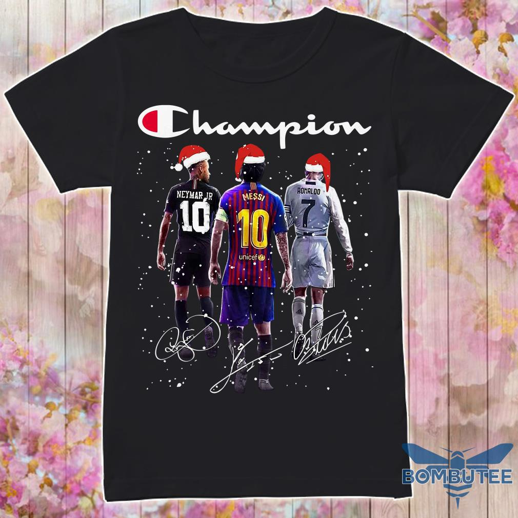 Champion Santa Neymar Jr Messi And Ronaldo Christmas Shirt