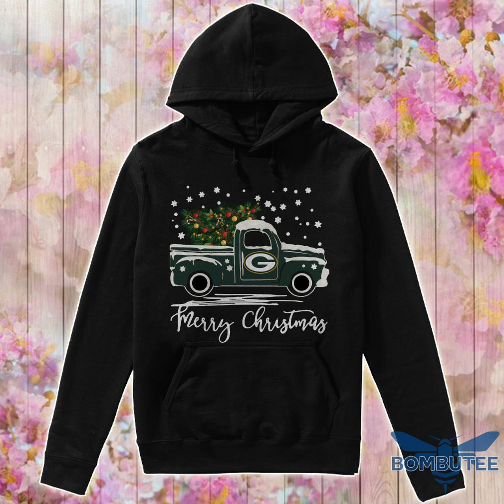 Green Bay Packers pickup truck Merry Christmas hoodie