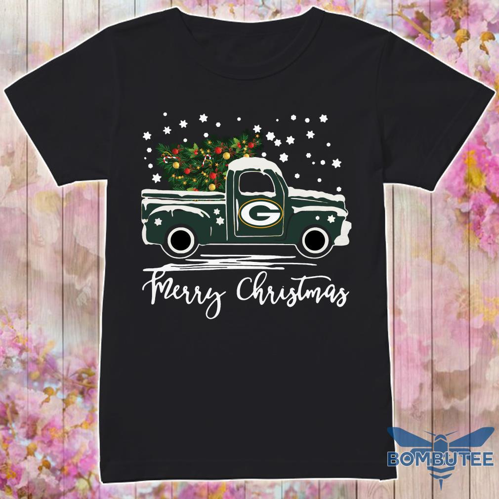 Green Bay Packers pickup truck Merry Christmas shirt