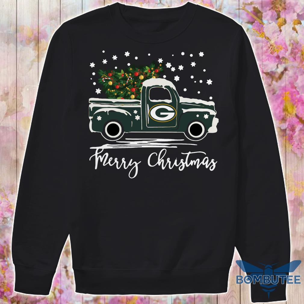 Green Bay Packers pickup truck Merry Christmas sweater