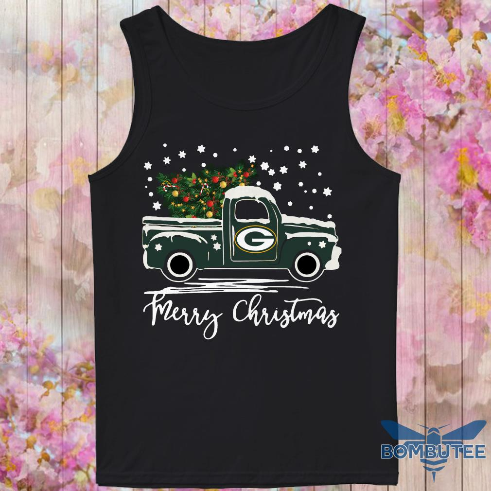 Green Bay Packers pickup truck Merry Christmas tank top