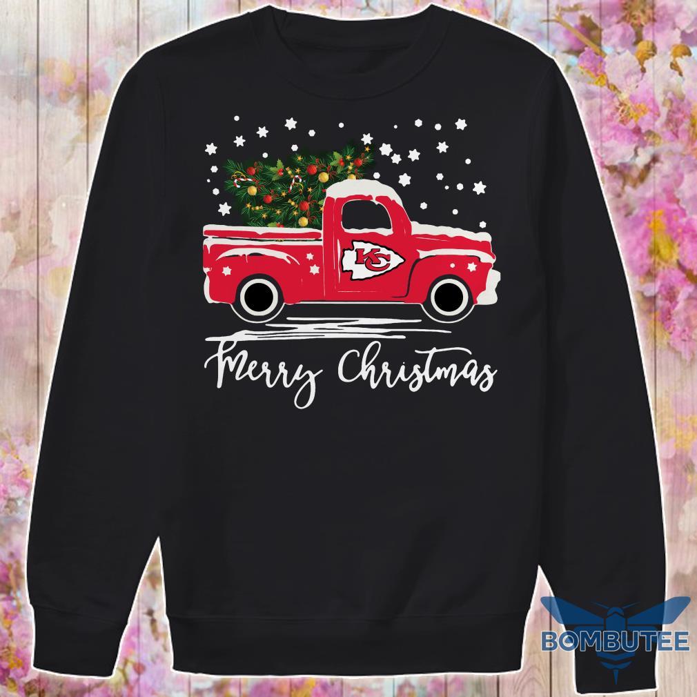 Kansas City Chiefs pickup truck Merry Christmas sweateer