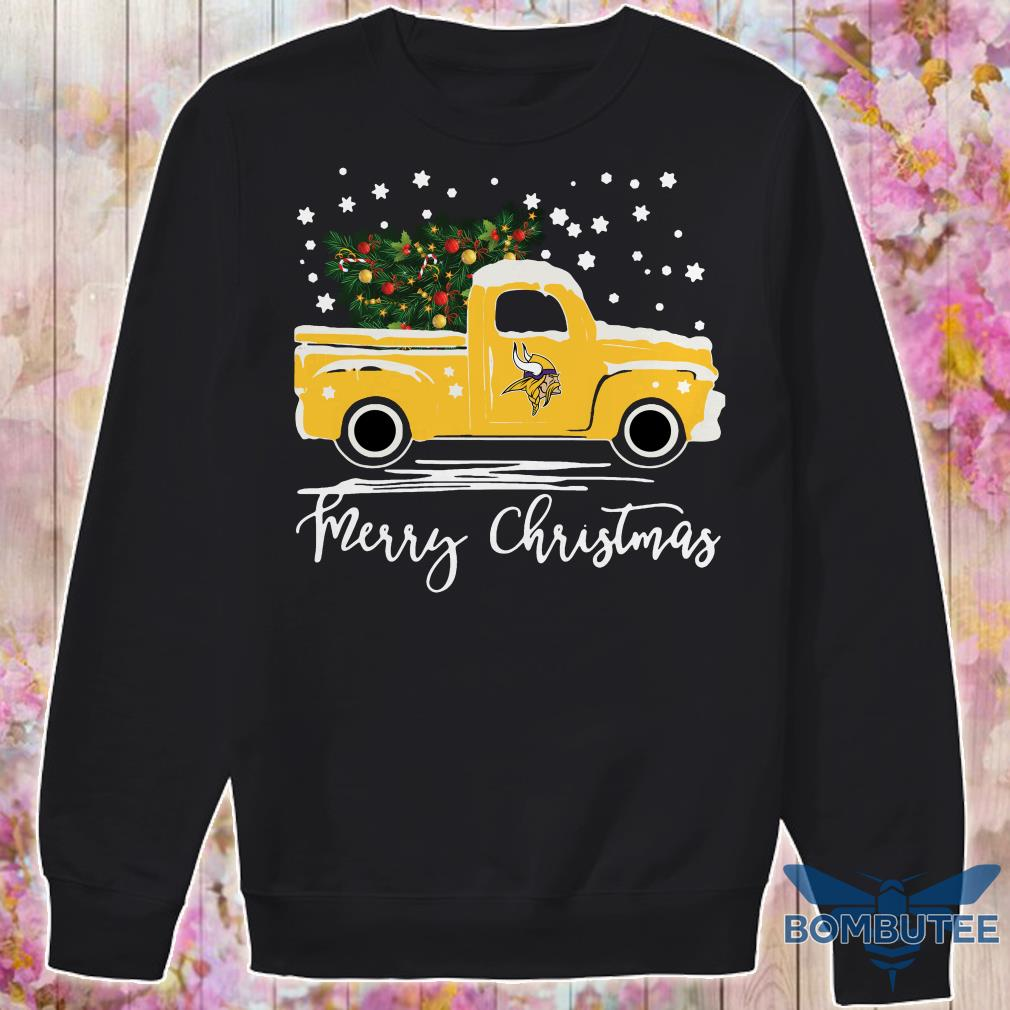 Minnesota Vikings pickup truck Merry Christmas sweater
