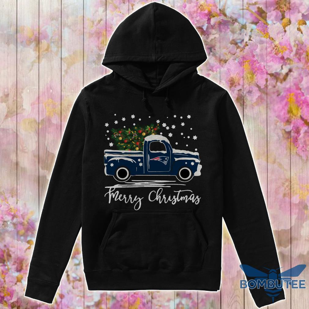 New England Patriots pickup truck Merry Christmas hoodie
