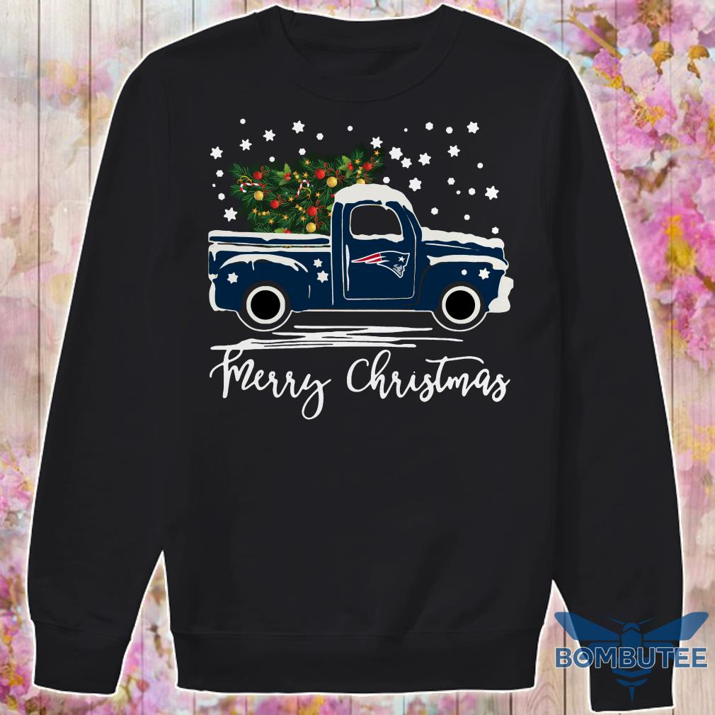 New England Patriots pickup truck Merry Christmas sweater