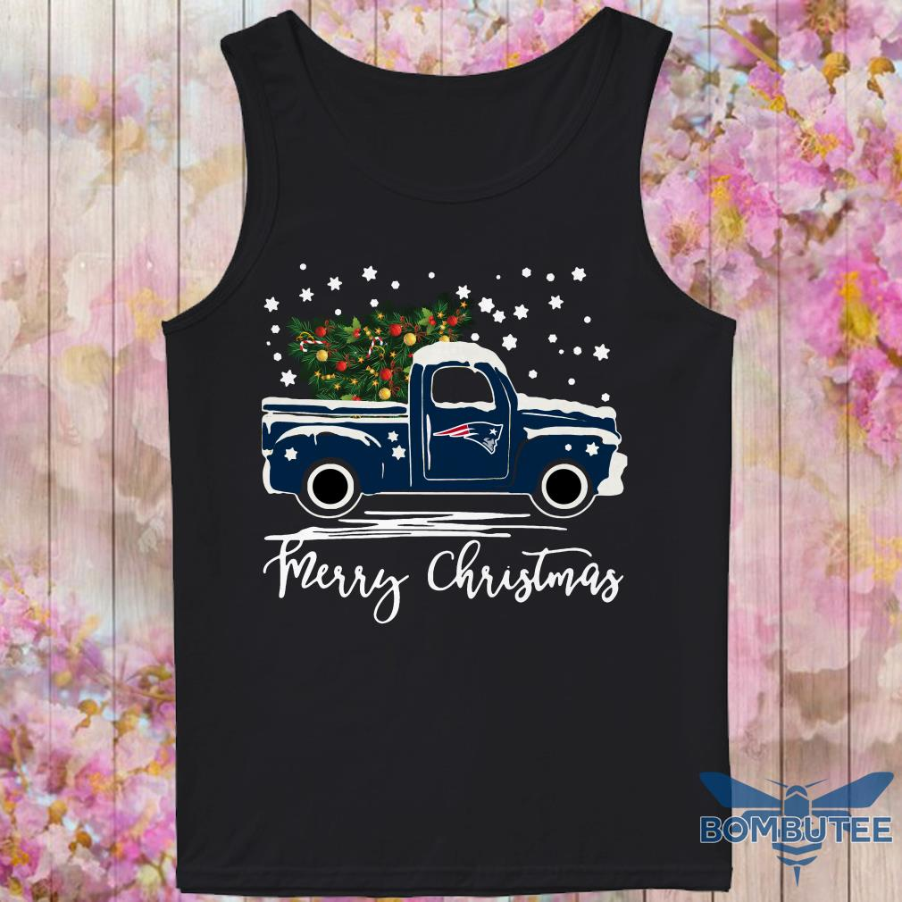 New England Patriots pickup truck Merry Christmas tank top