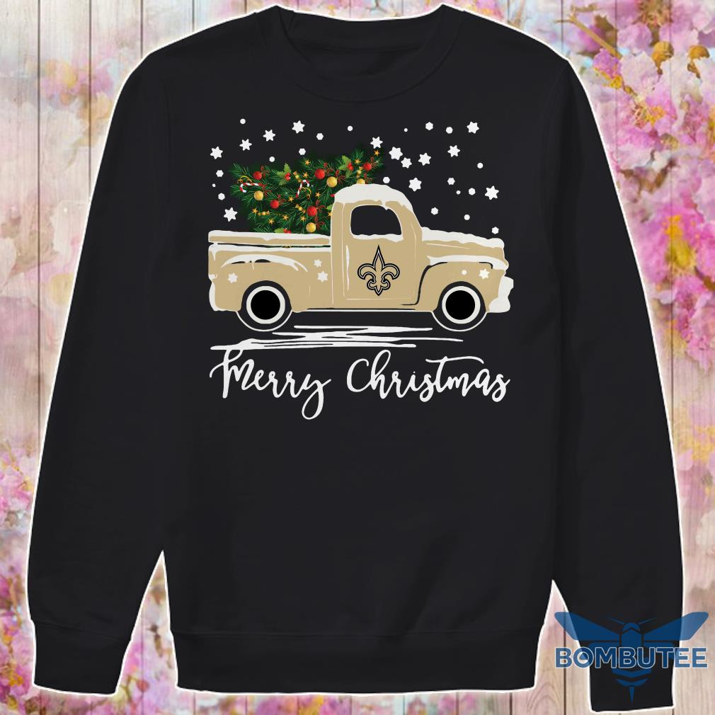 New Orleans Saints pickup truck Merry Christmas sweater