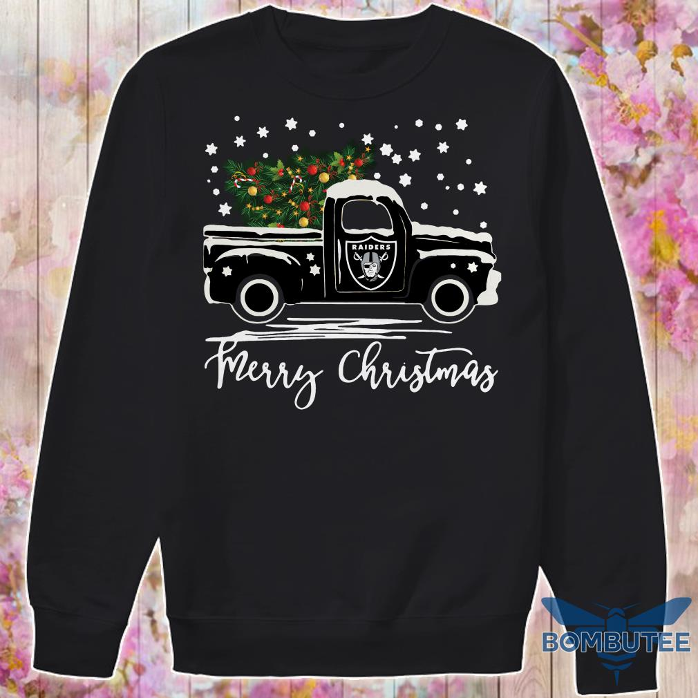 Oakland Raiders pickup truck Merry Christmas sweater
