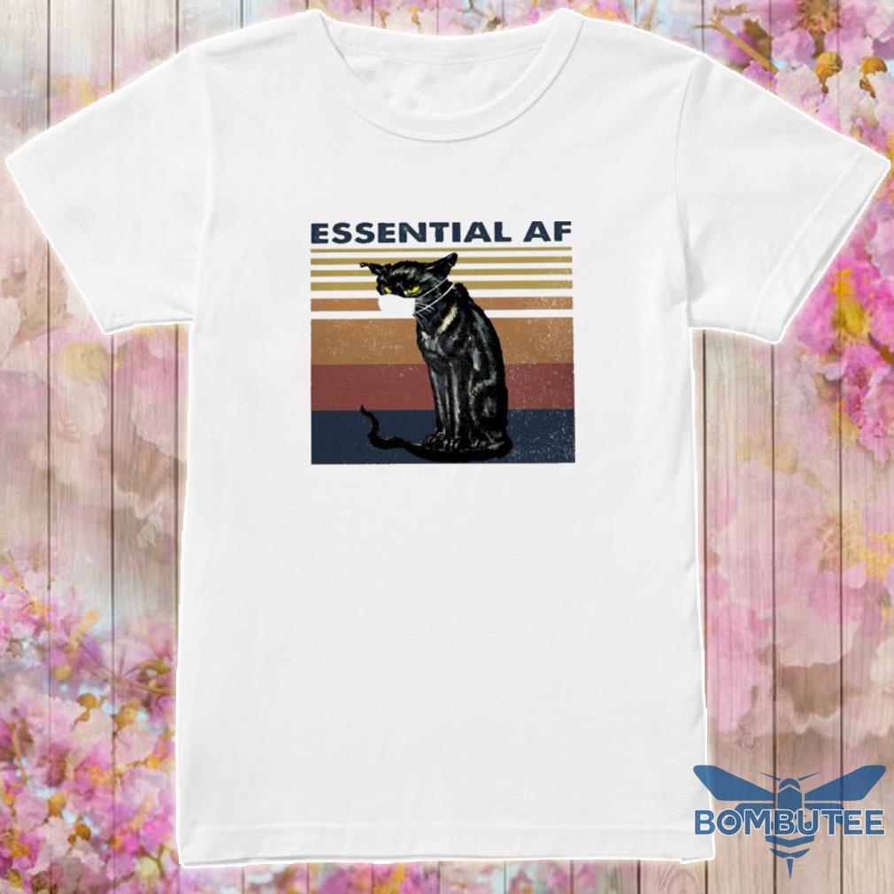 Black cat face mask essential af vintage shirt