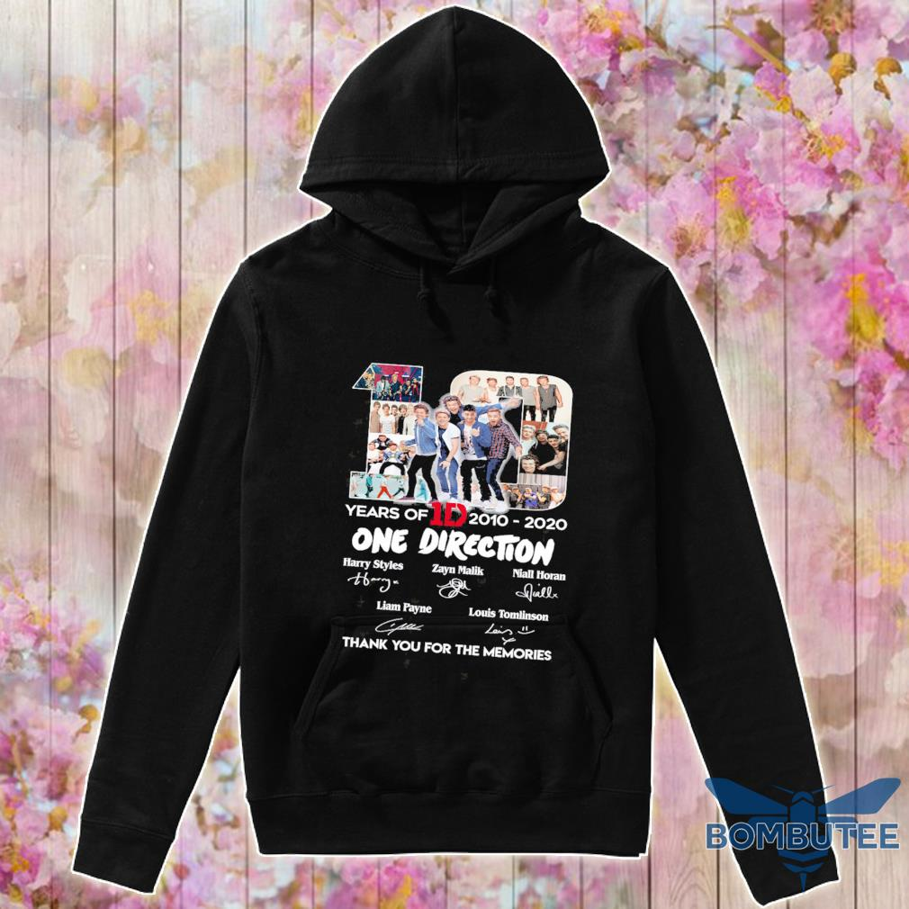 10 Years Of 1d 2010 2020 One Direction Thank You For The Memories Signatures Shirt -hoodie