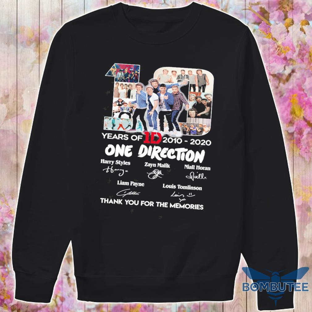 10 Years Of 1d 2010 2020 One Direction Thank You For The Memories Signatures Shirt -sweater