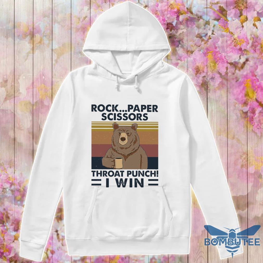 Bear Rock paper scissors throat pinch I win vintage s -hoodie