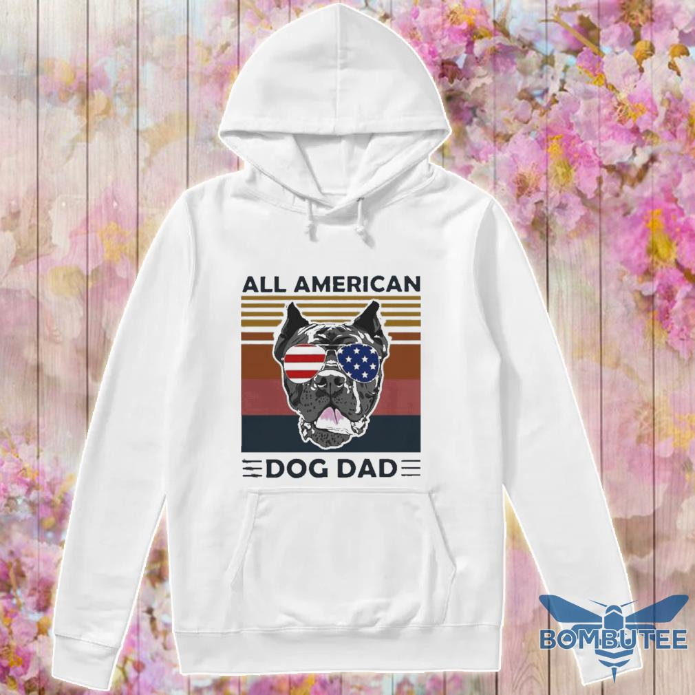 Official All American Dog Dad Vintage Retro Shirt -hoodie