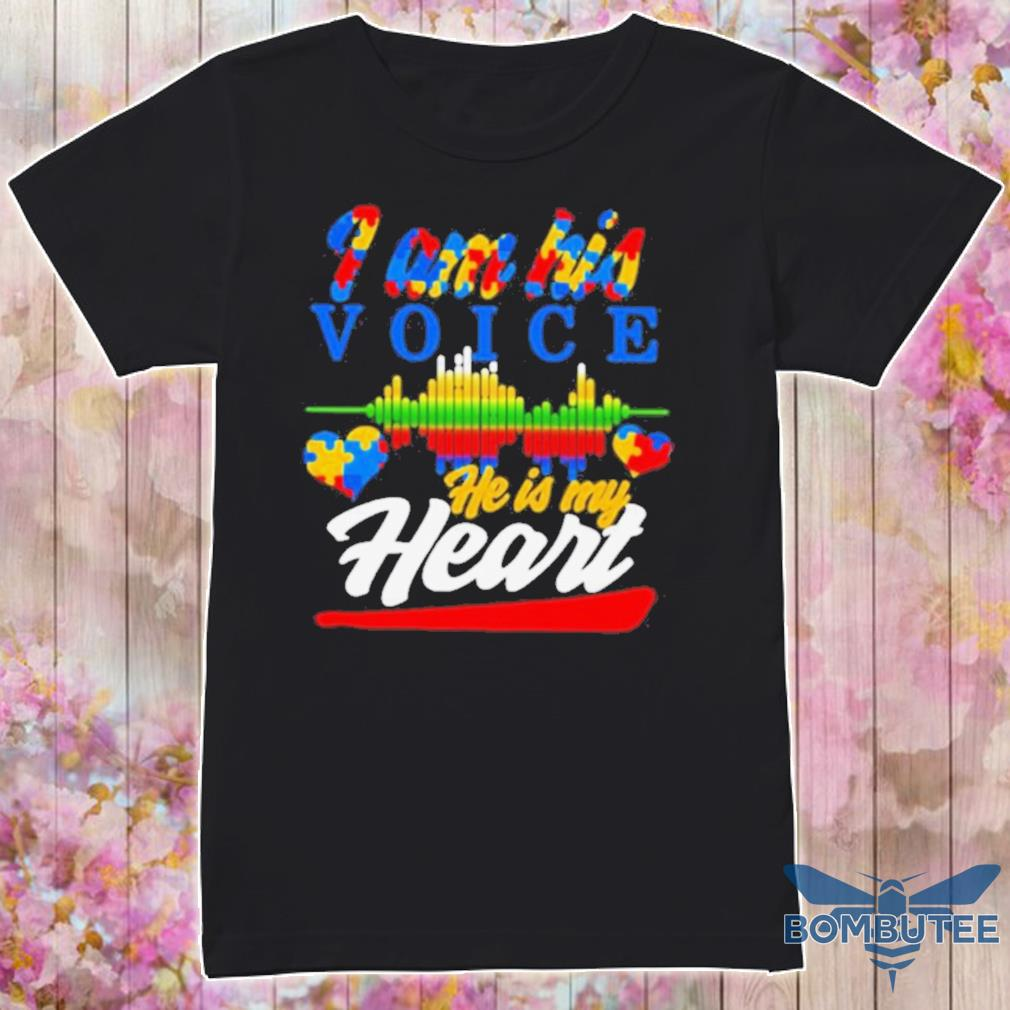 Official Autism Heart And Heartbeat Iam His Voice He Is My Heart Shirt