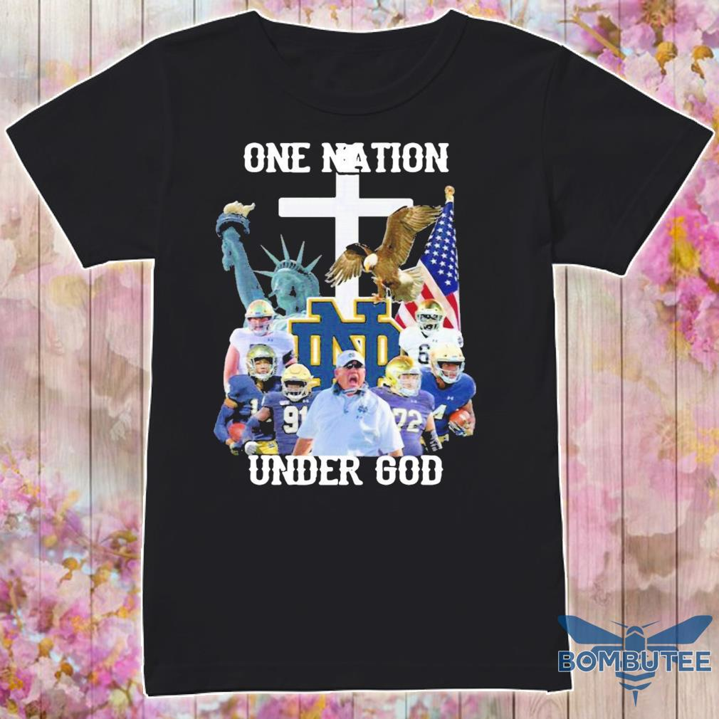 Official Notre Dame Fighting Irish Football One Nation Under God Cross Shirt