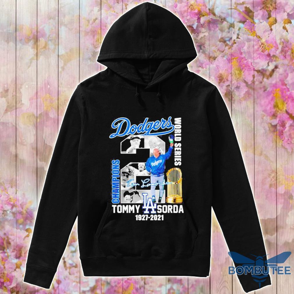 Los Angeles Dodgers world series champions Tommy Lasorda 1927 2021 signature s -hoodie